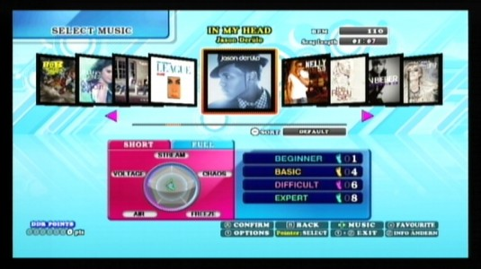 menu du jeu dance dance revolution hottest party 5