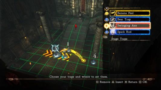 Un aperçu du menu qui permet au joueur de poser ses pièges