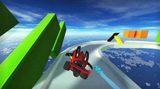 On s'envoie régulièrement en l'air dans Jet Car Stunts.