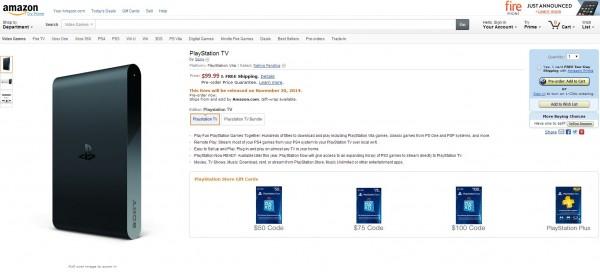 PlayStation TV : Amazon annonce la couleur