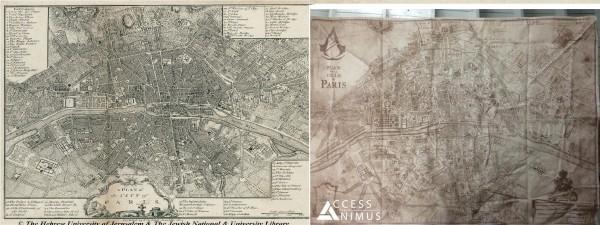 Assassin's Creed Unity : la carte de Paris révélée comparaison