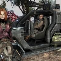 Defiance personnages dans une jeep