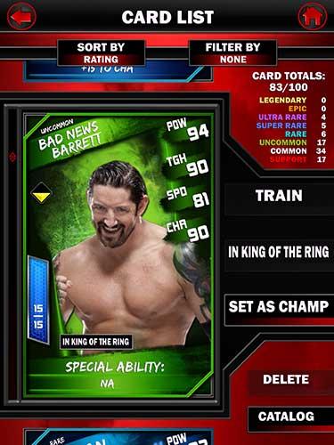 WWE SuperCard carte