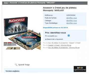 Monopoly Assassin's Creed sur le site HEO