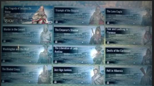 menu Assassin's Creed Unity