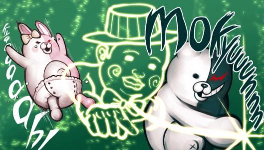 Monomi et Monokuma dans un combat de stands