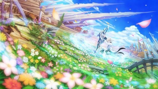 Fairy Fencer F champs de fleurs