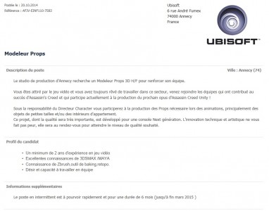 Offre d'emploi Assassin's Creed unity 2