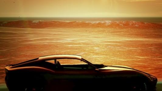 """Une superbe Furore GT dans la lumière du soleil couchant, les vagues de San Andreas en toile de fond. Irrésistible. """" Lago Zancudo"""" de Vinewoodonfire."""