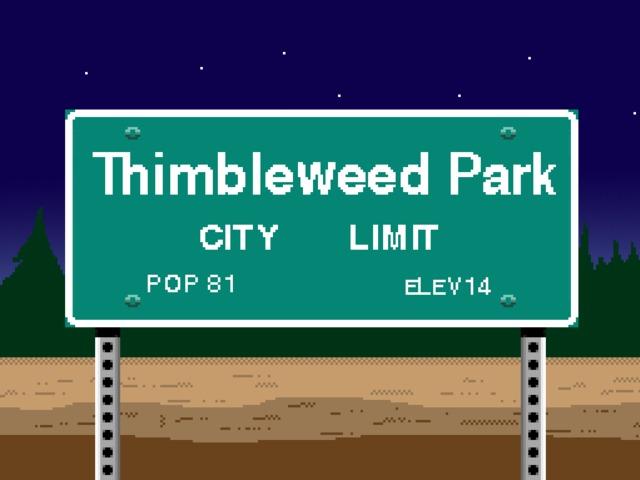 Thumbleweed Park panneau d'entrée de la ville