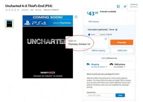 Uncharted 4 A Thief's End: une date de sortie