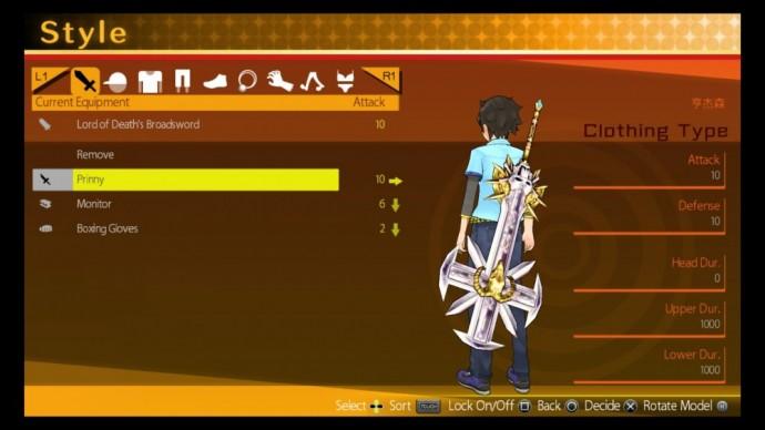 Akiba's Trip Undead & Undressed écran équipement