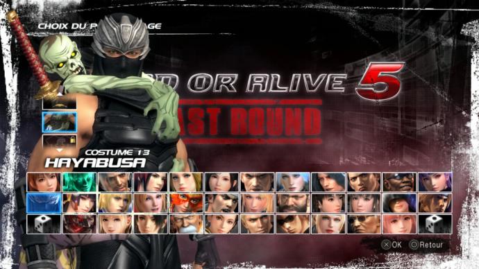 Dead or Alive 5 Last Round écran personnages