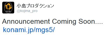 Metal Gear Solid V - The Phantom Pain Twitter Kojima