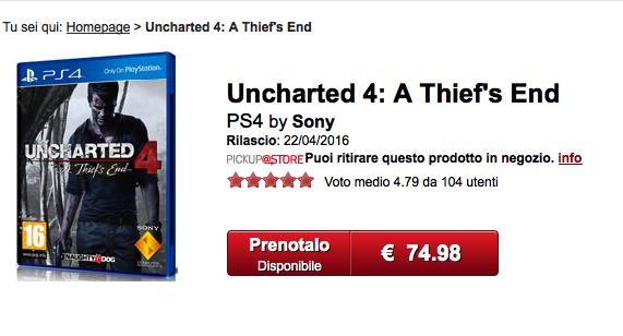 Uncharted 4 - Date de sortie