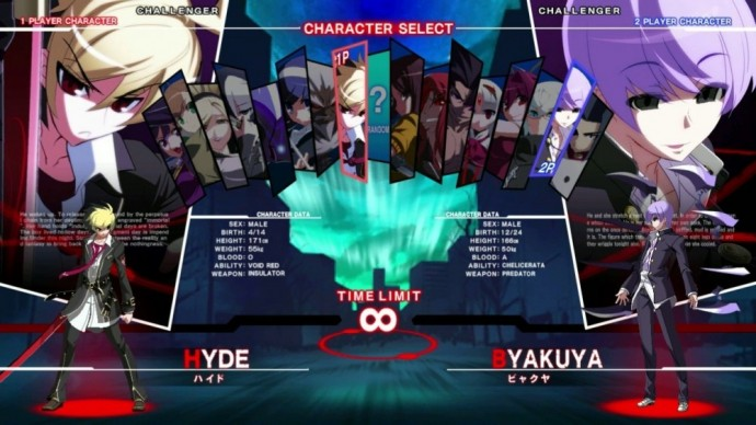 Under Night In-Birth EXELate sélection personnages
