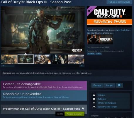 Call of Duty : Black Ops III – un prix pour le Season Pass