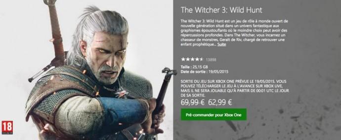 The Witcher 3: Wild Hunt - prétéléchargement et reduction sur Xbox One