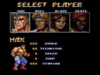 Streets of Rage II sélection personnages