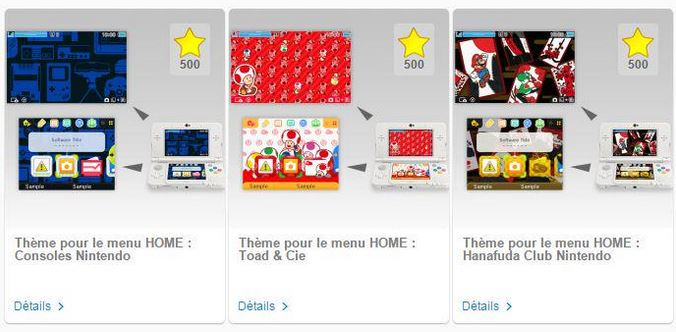 Club Nintendo : des étoiles contre des thèmes 3DS