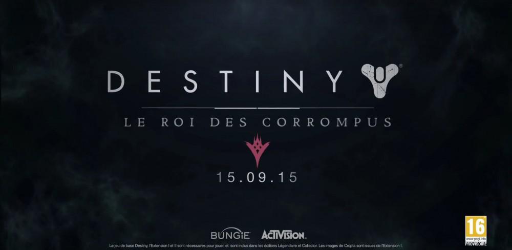 Destiny: Le Roi des Corrompus le 15 septembre 2015