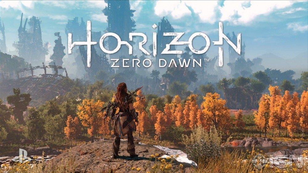 Aloy regarde la nature d'Horizon : Zero Dawn