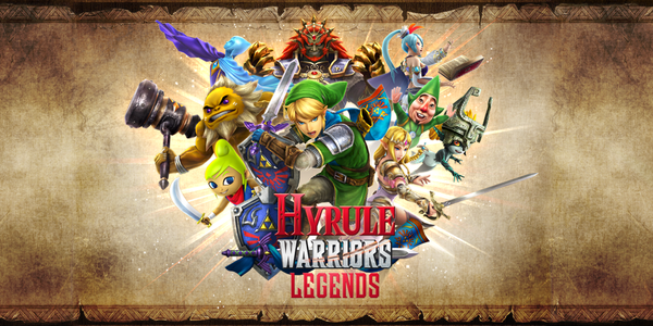 Link entouré des protagonistes d'Hyrule Warriors: Legends