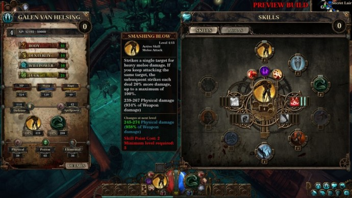 Test The Incredible Adventures of Van Helsing III 05 - Arbre de compétences
