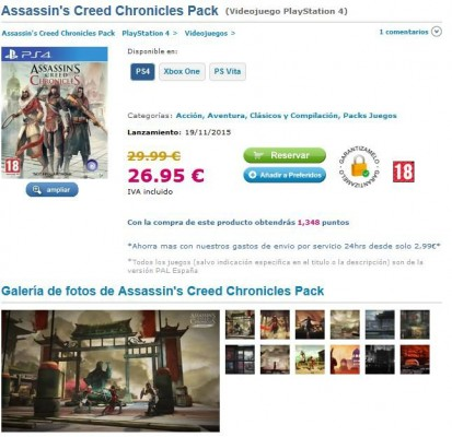 Assassin's Creed Chronicles Pack, une version boîte ?