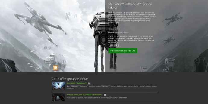 Star Wars Battlefront Deluxe edition sur Xbox One
