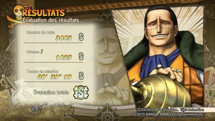 One Piece Pirate Warriors 3 écran résultats Crocodile