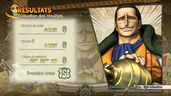 One Piece Pirate Warriors 3 écran résultats Crocodile