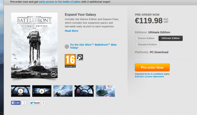 Star Wars Battlefront Deluxe edition sur PC