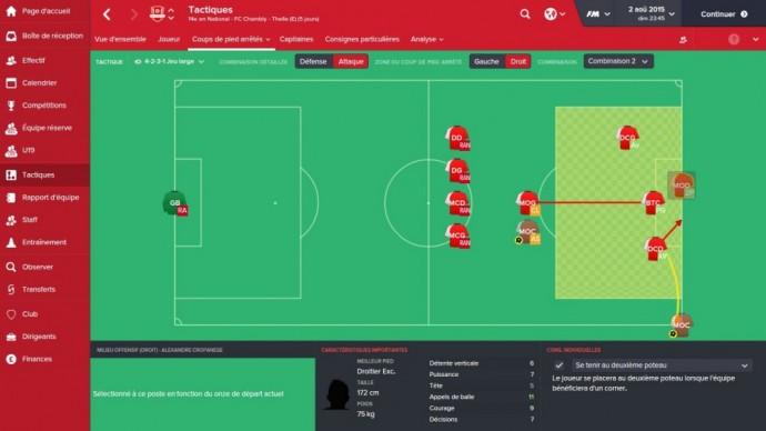 Nouveauté dans Football Manager 2016 : la création des tactiques sur coup de pied arrêté
