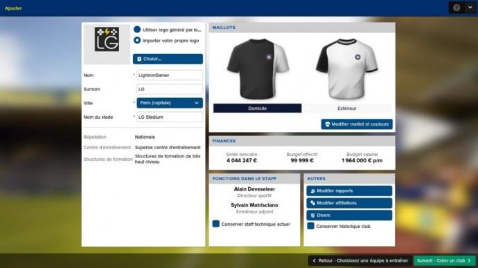 La création d'un club dans Football Manager 2016