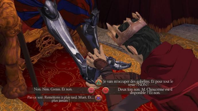 King's Quest - Episode 2 Graham doit répondre quelque chose rapidement en massant les pieds d'un chevalier