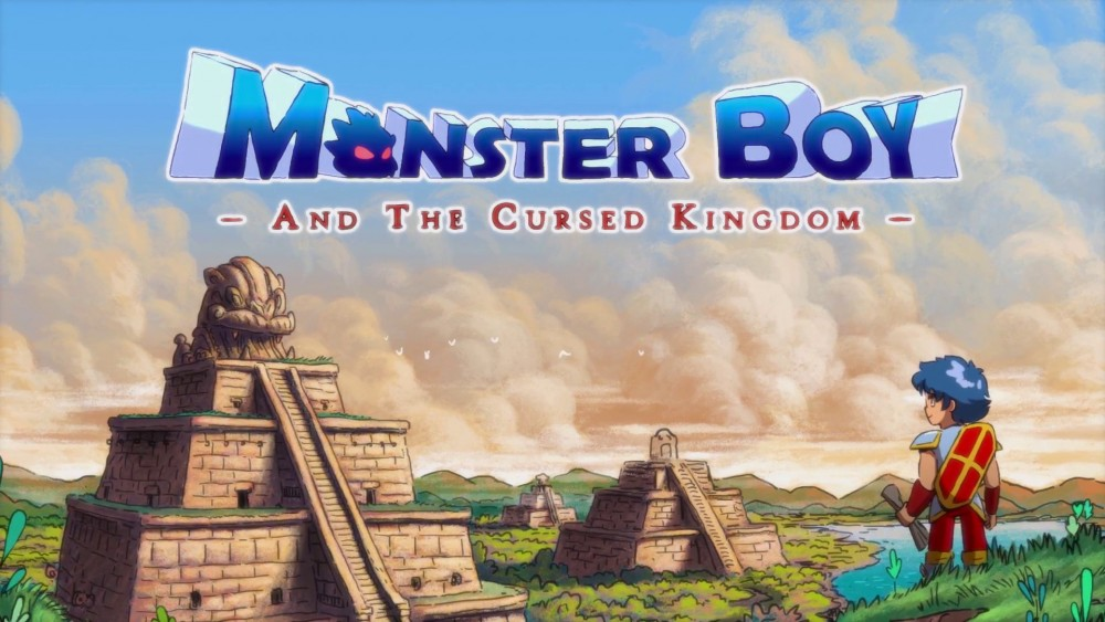 Monster Boy and the Cursed Kingdom logo Monster Boy devant temples
