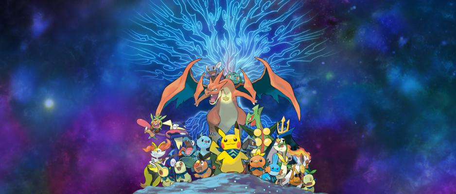 Pikachu mène sa troupe de Pokémon dans Pokémon Méga Donjon Mystère