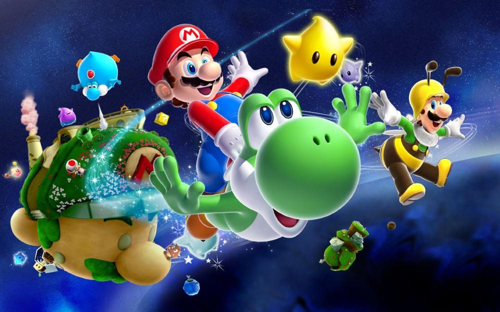 Mario chevauchant Yoshi dans l'espace