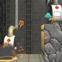 Splosion Man se propulse en l'air en explosant