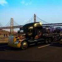 Camion noir avec des flammes dans American Truck Simullator