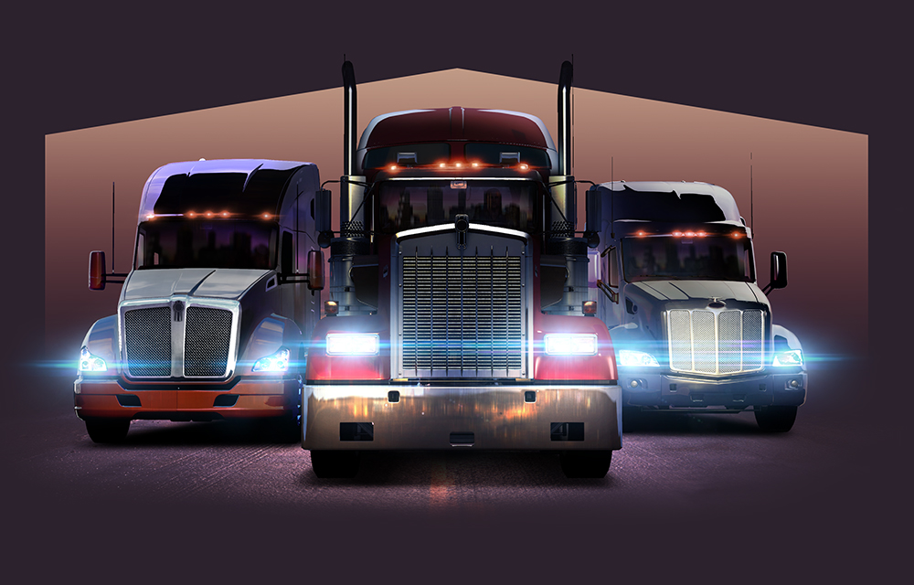 Trois camions dans American Truck Simulator