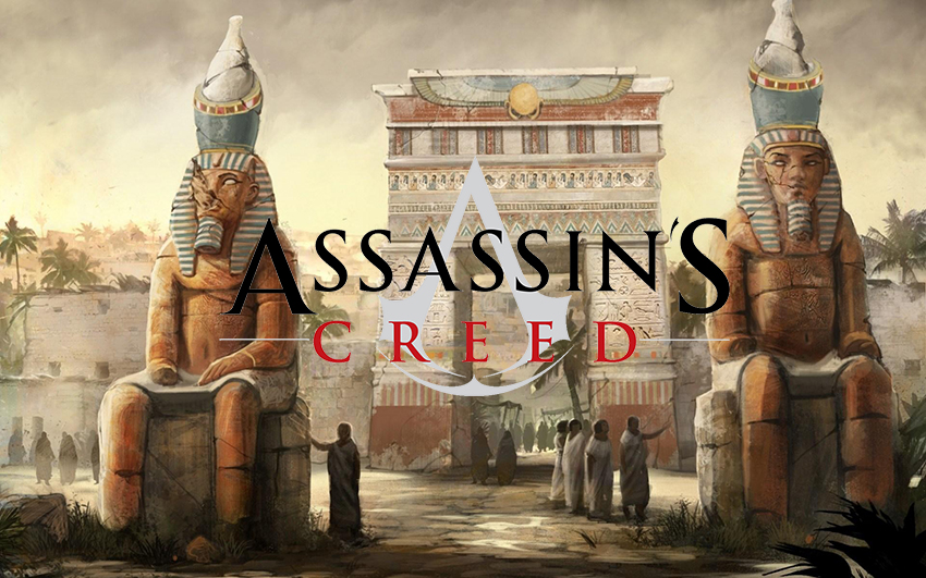 Assassin's Creed Logo sur statutes egyptiennes