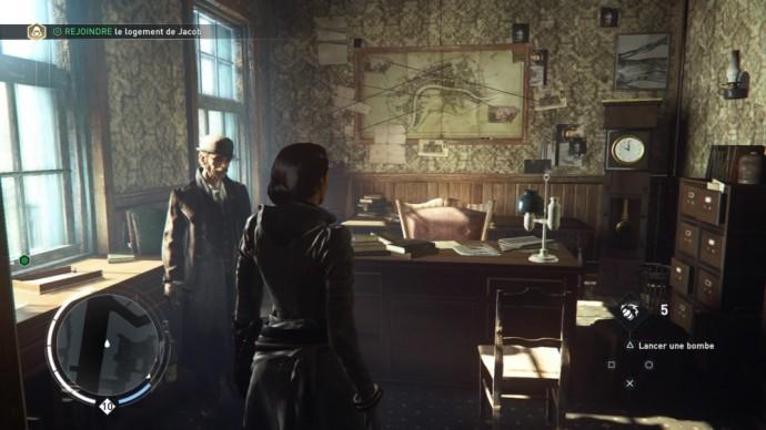 Evie Frye dans le bureau du commissaire