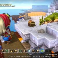 Dragon Quest Builders héroïne qui voit un coffre à trésor au loin à côté d'un dragon assoupi