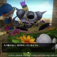 Dragon Quest Builders héros discute avec ennemi robotique à terre