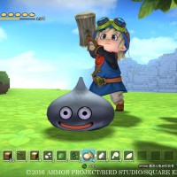 Dragon Quest Builders héros qui s'apprête à frapper un gluant de métal