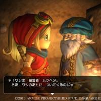 Dragon Quest Builders l'héroïne discute avec un vieux sage