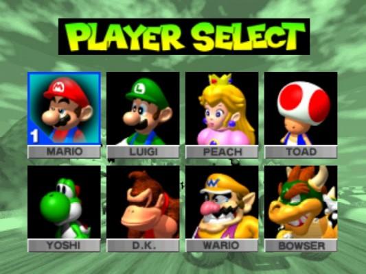 L'écran de sélection des personnages dans Mario Kart 64