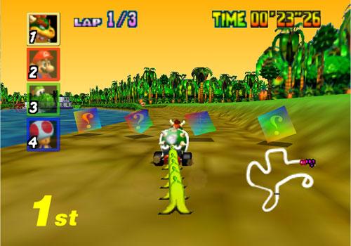Bowser avec un régiment de bananes dans la Jungle DK de Mario Kart 64